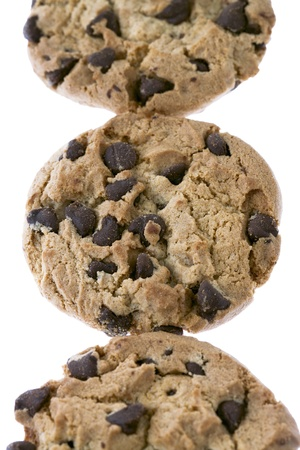 Close up image chocolate chip cookies on white background Stock Photo - 17167588