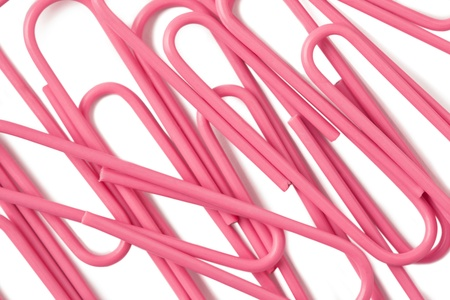 Close up image of pink paper clips against white background Stock Photo - 17152517