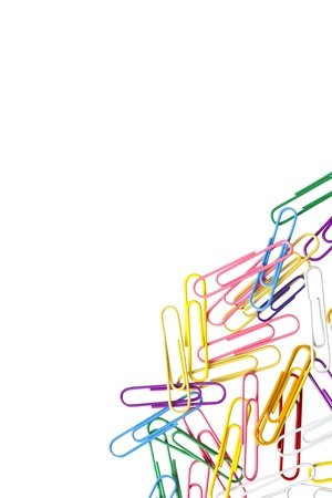 Cropped image of colorful paperclips on white background. Stock Photo - 17150958