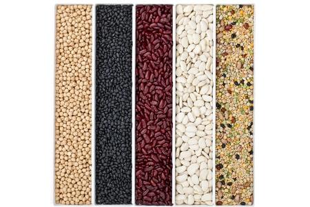 garbanzo bean: A pile of dried beans in a row