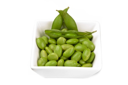 Edamame soybean on white bowl isolated on white background Stock Photo - 17151455