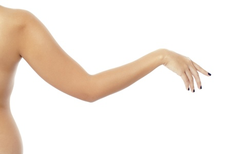Close up image of female arm against white background