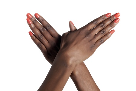 Close-up image of a flying woman hand against the white surface Stock Photo - 17152375