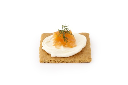 graham: Graham cracker with sour cream and smoked salmon on top