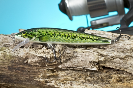 Close up image of green fish lure photo