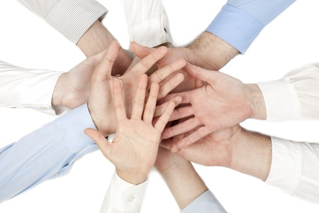coalition: Group of hands with open palms together showing unity Stock Photo