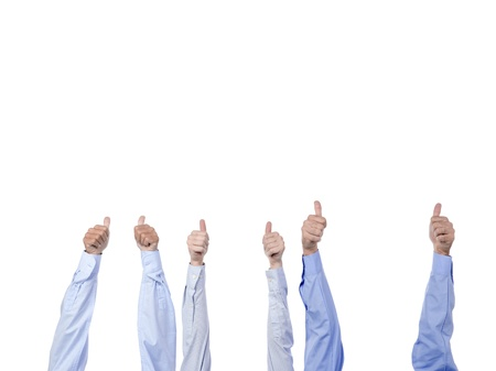 Image of a group of hands wearing a long sleeve making an approved sign Stock Photo - 17150850