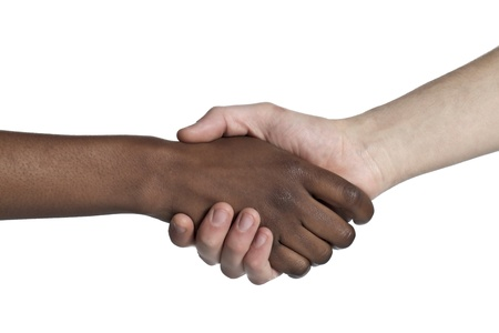 Close-up image of two people with handshake isolated on a white background Stock Photo - 17152025
