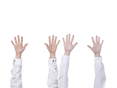 Hands raised over the white background Stock Photo - 17150652