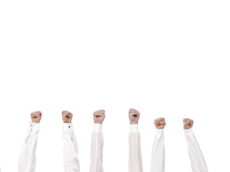 closed fist: Group of hand with closed fist lift up high on white background