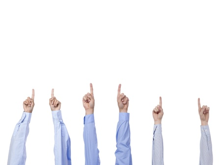 Image of one fingers on a hand gesture being held on the air against white background Stock Photo - 17150851