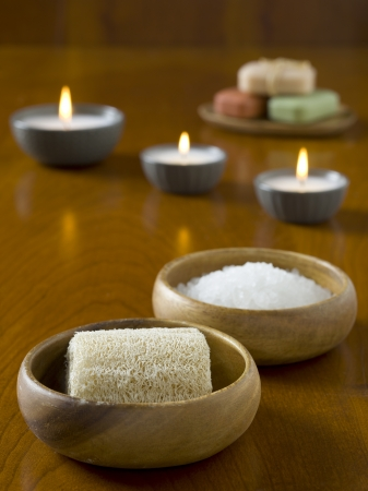 Close up image of herbal spa salt with loofah Stock Photo - 17152910