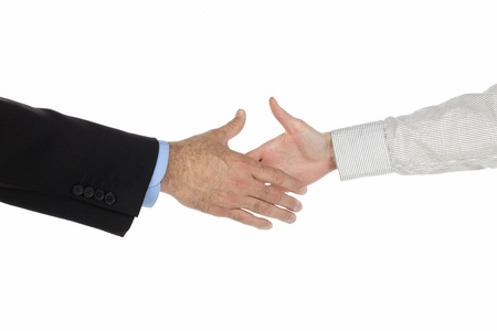 Humans hands about to shake hands isolated on Stock Photo - 17152308