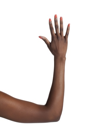 Close-up image of a human hand counting five against the white background