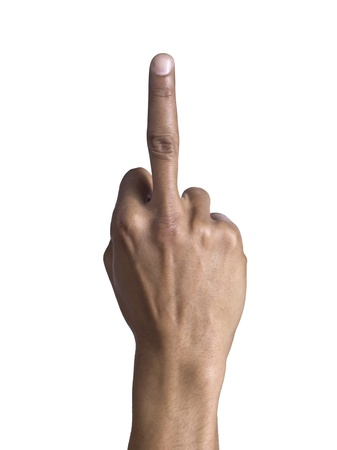 Close up image of human hand gesturing dirty finger against white background Stock Photo - 17151194