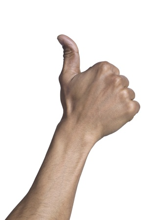 Close up image of human hand in thumbs up gesture against white background Stock Photo - 17151300