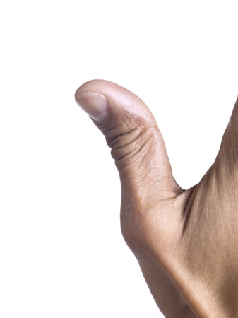 man's thumb: Close-up image of a males thumb isolated on a white surface