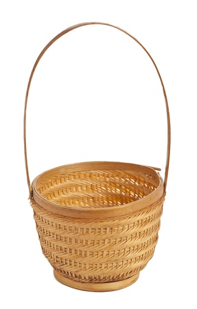willow fruit basket: Picnic basket against the white background