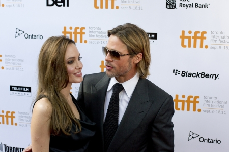 fanfare: Hollywood power couple Brangelina graces the red carpet at the 2011 Toronto International Film Festival on Septermber 9th 2011 for the screening of Brad`s latest flick `Moneyball`