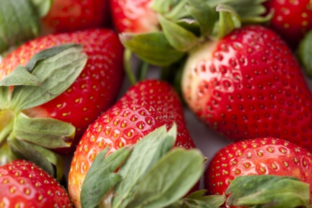 shiny: Detailed shot of shiny strawberries. Stock Photo