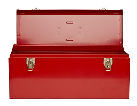 Red metal toolbox isolated in a white background Foto de archivo
