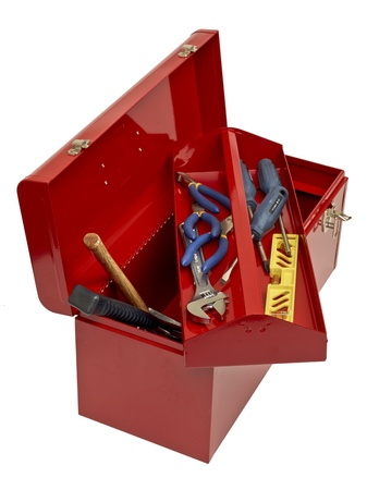 Open red toolbox with tools photo
