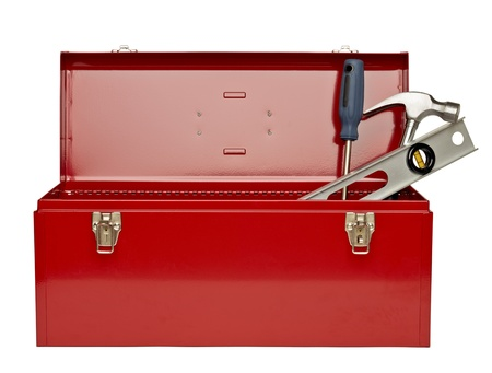 Image of red tool box with tools against white background