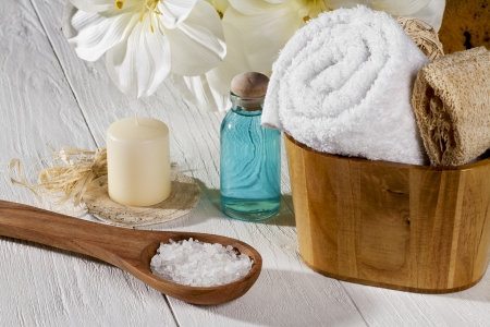 Close-up of different spa products at spa. Foto de archivo