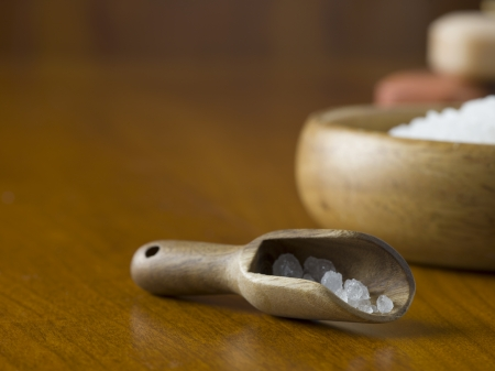 Closed up shot of a wooden scoop with spa salt Stock Photo - 17152653