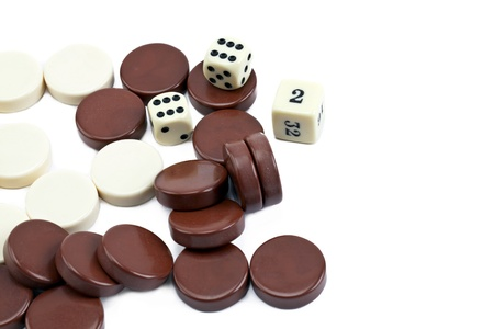 Close up image of backgammon chips and dice