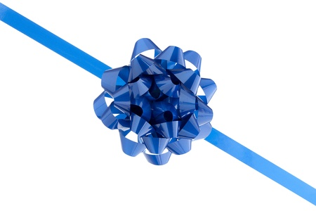 Blue bow in a close-up image photo
