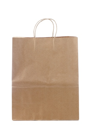 Brown paper shopping bag displayed on white. Stock Photo - 17152635