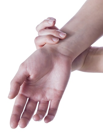 self exam: Closed up hands checking pulse Stock Photo