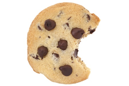 choco chips: Chocolate chip cookie with a bite isolated on white background