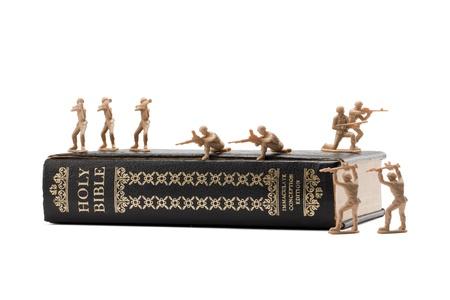 Soldiers guarding a bible Stock fotó