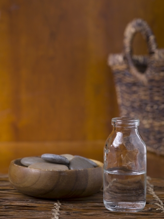 Close up image of spa essential oil and stone Stock Photo - 17152643