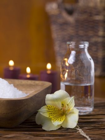Close up image of spa massage oil and salt Stock Photo - 17152573