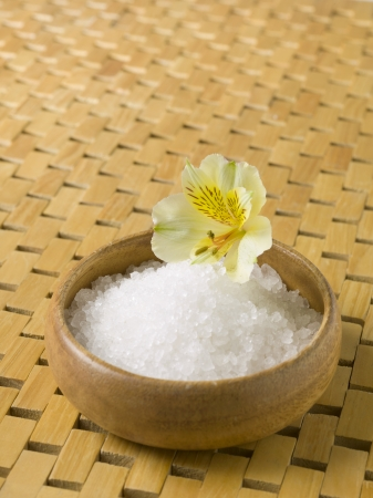 Close up image of spa salt with flower Stock Photo - 17152595