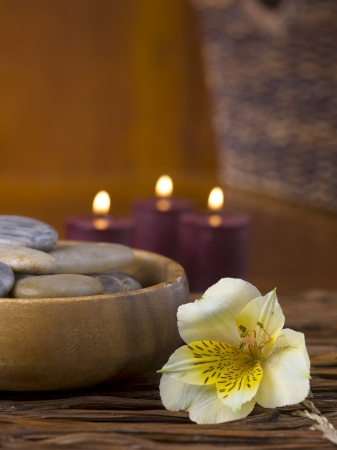 magnetic stones: Bowl of spa stones laid near a beautiful flower with scented candles on the background Stock Photo