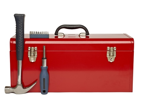 Red tool kit and tools arrange over a white bakcground Standard-Bild
