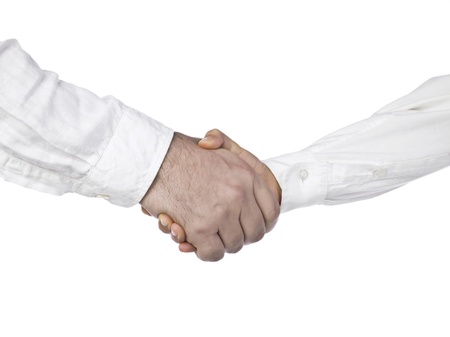 the sleeve: Two businesspeople in a white long sleeve doing handshake