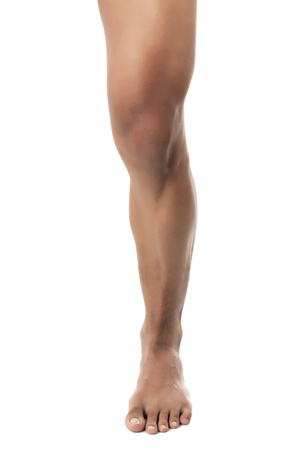 A close up image of human leg against white background Stock Photo - 17182924