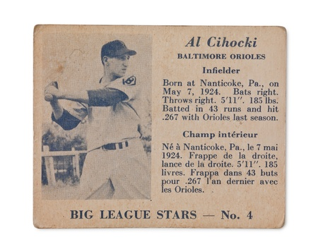 Old baseball card with Al Cihocki profile