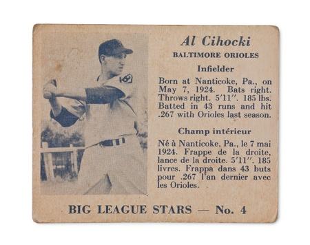 orioles: Old baseball card with Al Cihocki profile