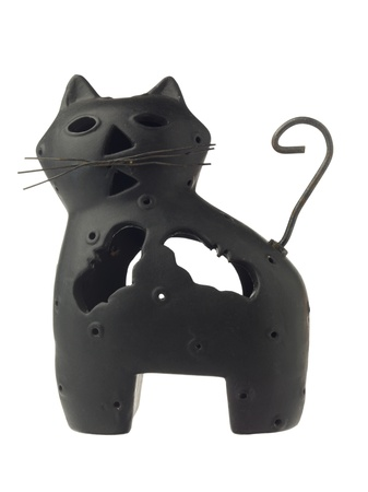 candle holder: Black cat shaped candle holder for Halloween Stock Photo