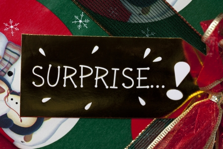 Extreme close-up image of a card with surprise. photo