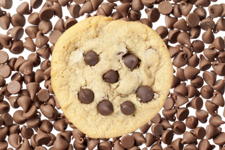 morsels: Overhead shot of chocolate chip cookies representing face on morsels. Stock Photo