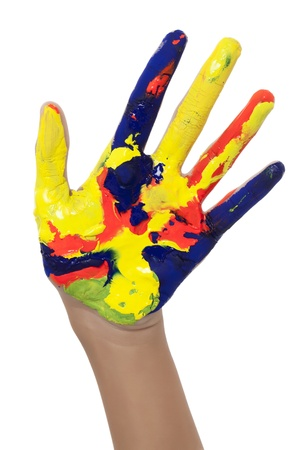 paints: Cropped image of a girls painted hand isolated on white