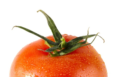 cropped image: A close-up cropped image of red tomato focusing the crown isolated on a white background