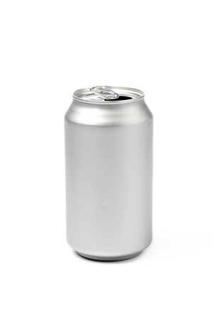 Close-up shot of silver tin can isolated on white background 版權商用圖片